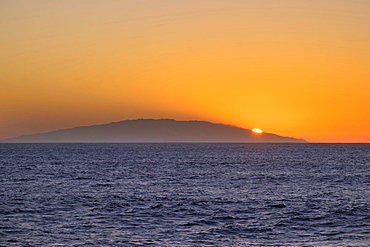 Sunset on island of El Hierro, seen from Valle Gran Rey, La Gomera, Canary Islands, Spain, Europe