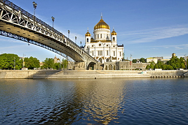 Cathedral of Christ the Saviour and Patriarshy Bridge over Moskva River, Moscow, Russia, Europe