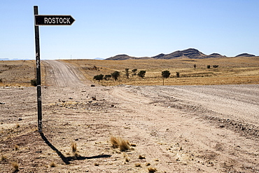 Signpost to Rostock at the road C14, Namibia, Africa