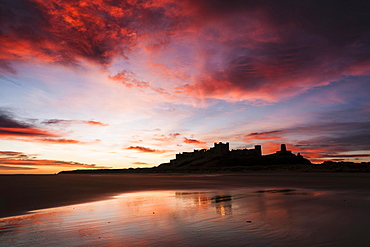 Bamburgh Castle viewed from Bamburgh Beach at sunrise, Bamburgh, Northumberland, England, United Kingdom, Europe