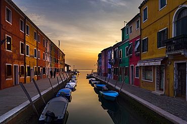 Colorful houses on canal at sunset, Burano, Venice, Veneto, Italy, Europe