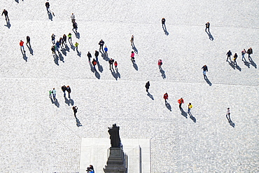 Tourists on the Neumarkt, aerial view from the Church of Our Lady, Dresden, Germany, Europe