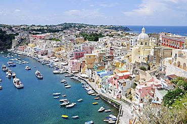Port of Corricella, Church of Santa Maria delle Grazie, Marina di Corricella, Procida, Campania, Southern Italy, Italy, Europe