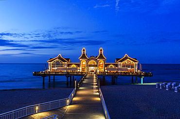 Lit up pier Sellin, Ruegen island, Mecklenburg-Western Pomerania, Germany, Europe