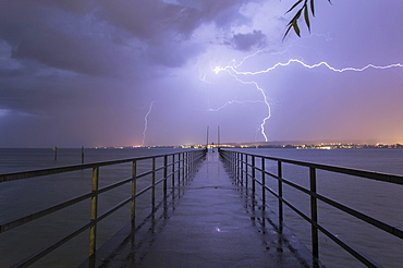 Storm over Lake Constance, jetty of Konstanz-Therme, Konstanz, Baden-Wurttemberg, Germany, Europe