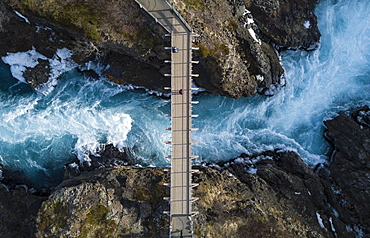 Aerial view, bridge and raging river Hvita from above, near the Hraunfossar waterfalls, West Island, Iceland, Europe