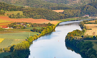 Main at Gambach seen from Grainberg, Karlstadt, Lower Franconia, Franconia, Bavaria, Germany, Europe
