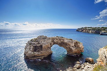 Natural stone arch in the sea, It Pontas, Santanyi, Majorca, Balearic Islands, Spain, Europe