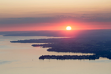 Sunset on Lake Constance with the island of Lindau, Lake Constance, Baden-Wurttemberg, Germany, Europe
