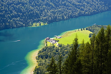 View of the lake Konigsee and the pilgrimage church Sankt Bartholoma from the Rinkendelsteig, Berchtesgaden Alps, Schonau am Konigsee, Berchtesgaden National Park, Berchtesgadener Land, Bavaria, Germany, Europe