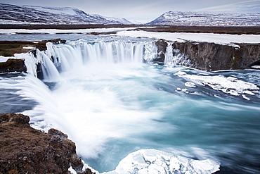 Godafoss in winter, Fossholl, Southern Region, Iceland, Europe