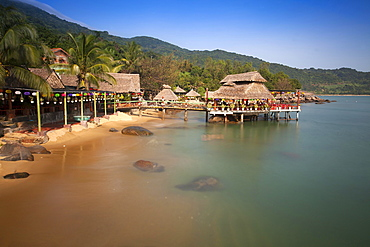 Bamboo huts on the beach at Rangbeach, Danang or Da nang, Quang Nam Province, Vietnam, Asia