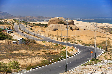 Lonely coastal road, Highway at Phan Rang, Ninh Thuan province, Vietnam, Asia
