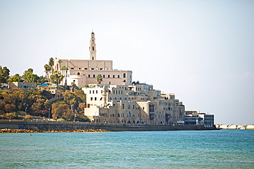 Old town of Jaffa with St. Peter church and mosque, old port, today part of Tel Aviv, Tel Aviv-Jaffa, Israel, Asia