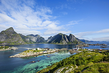 Panoramic view from Olenilsoya to Reinefjord, Moskenesøy, Lofoten, Norway, Europe