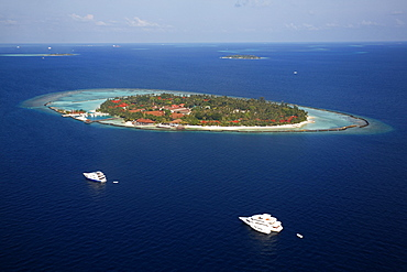 Aerial view, an island of the Maldives with a coral reef, Indian Ocean, atoll, Maldives, Asia