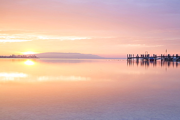 Evening mood with sunset, Allensbach on Lake Constance, Baden-Württemberg, Germany, Europe