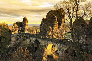 Bastei Bridge, Elbe Sandstone Mountains, Saxon Switzerland National Park, Saxony, Germany, Europe