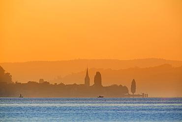 View from the island Reichenau over Lake Constance at sunset, Berlingen, Fährenhorn, Reichenau, Baden-Württemberg, Germany, Europe