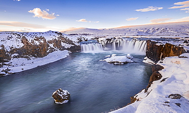 Evening trimming, waterfall Góðafoss, Godafoss in winter with snow and ice, Skjálfandafljót river, Norðurland vestra, Northern Iceland, Iceland, Europe