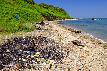 Garbage on the beach, Cape Rodon, Kepi i Rodonit, Adriatic Sea, municipality of Ishem, Durres, Durres, Albania, Europe