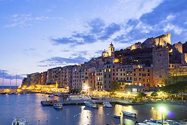 Harbor in the evening light, Porto Venere, Liguria, Italy, Europe