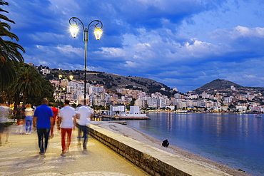 Dusk on the seafront, Saranda, Sarandë, Qark Vlora, Ionian Sea, Albania, Europe