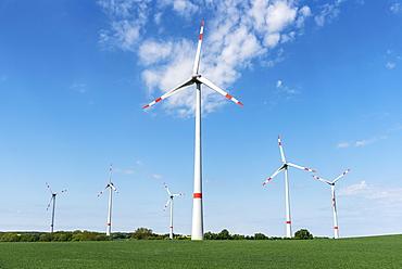 Wind turbines, Butzow, Mecklenburg-Western Pomerania, Germany, Europe