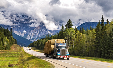 Truck loaded with straw bales on the Yellowhead Highway, behind it Mount Robson, partly covered by clouds, Mount Robson Provincial Park, British Columbia, Canada, North America