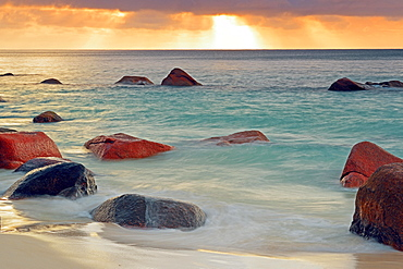 Colorful sunset at Anse Lazio, long exposure, Praslin Island, Seychelles, Africa