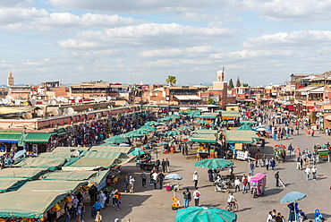 Locals on a busy place, Djemaa El Fna square, Marrakech, Morocco, Africa