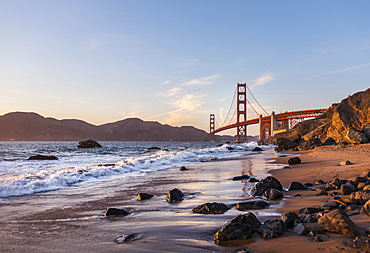 Golden Gate Bridge, Marshall's Beach, rocky coast, San Francisco, USA, North America