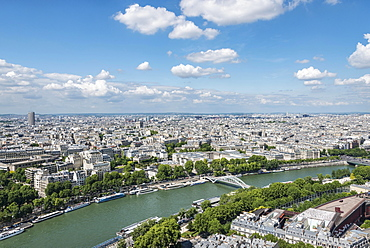 Cityscape, view from the Eiffel Tower over the Seine river, Paris, Ile-de-France, France, Europe