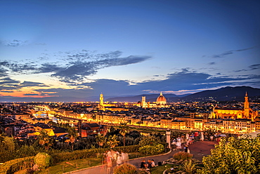 Lookout platform at Piazzale Michelangelo, illuminated city panorama at dusk with Florence Cathedral, Cathedral of Santa Maria del Fiore, Palazzo Vecchio, Ponte Vecchio, UNESCO World Heritage Site, Florence, Tuscany, Italy, Europe