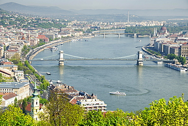 Cityscape with Danube and Chain Bridge, Budapest, Hungary, Europe