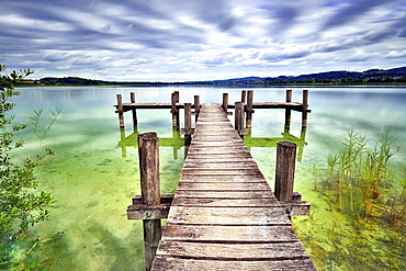 Wooden pier at Pfäffikersee, cloudy sky, Pfäffikon, Canton of Zurich, Switzerland, Europe