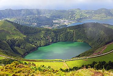 Lagoa do Canario and Lagoa Azul, Caldeira das Sete Cidades, Sao Miguel, Azores, Portugal, Europe