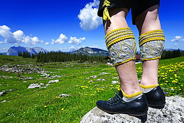 Bavarian traditional costume, Trachtler with leather pants and calf stockings stands on rock, Eggenalm, Reit im Winkl, Bavaria, Germany, Europe