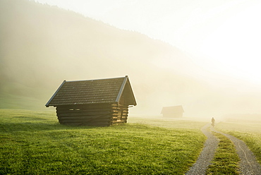 Sunrise and morning mist, meadow, Krün near Mittenwald, Werdenfelser Land, Upper Bavaria, Bavaria, Germany, Europe