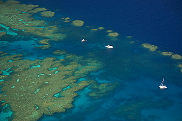 Aerial view of the Great Barrier Reef, UNESCO World Heritage Site, Queensland, Australia, Oceania