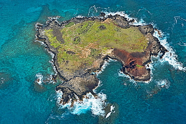 Aerial view, Kaohikaipu Island, Black Rock or Turtle Island, O'ahu, Hawaii, United States, North America