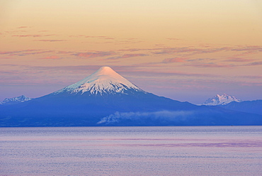Osorno volcano in the evening light, Frutillar, Los Lagos Region, Chile, South America