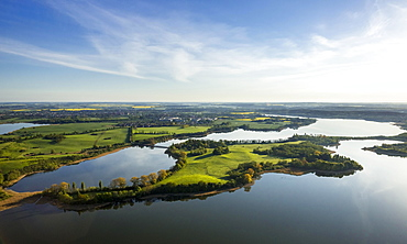 Aerial view, Gutower Moor and Schoninsel island near Gustrow, Muhl Rosin, Mecklenburg Lake District, Mecklenburg-Western Pomerania, Germany, Europe