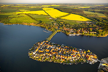 Aerial view, Malchow with Malchower See lake and the island with the historic centre and its old market square, Malchow, Mecklenburg Lake District, Mecklenburg-Western Pomerania, Germany, Europe