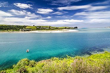 Boat in the bay of Taieri, Otago Region, South Island, New Zealand, Oceania
