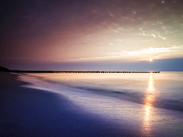 Sunset on the beach of Ahrenshoop, Fischland, Mecklenburg-Western Pomerania, Germany, Europe