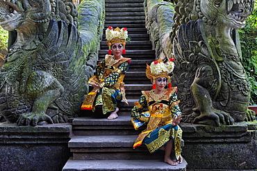 Two Balinese dancers, Monkey Forest, Ubud, Bali, Indonesia, Asia