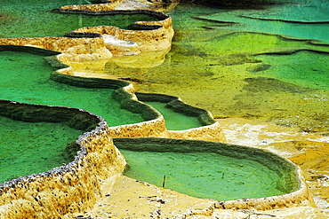 Lime terraces with lakes, Huanglong National Park, Sichuan Province, China, Asia