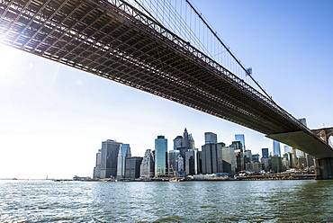 Skyline and Brooklyn Bridge, Downtown, Manhattan, New York, United States, North America
