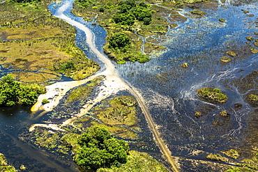 Okavango Delta, aerial view, Okavango Delta, Botswana, Africa